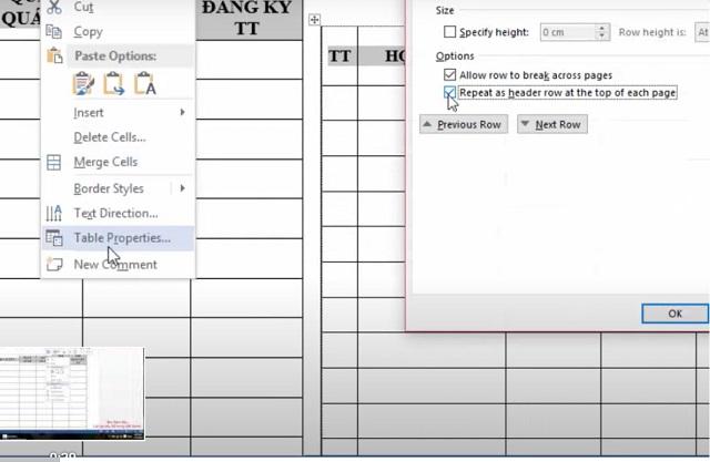 """Bôi đen tiêu đề click chuột phải chọn """"Table Properties"""""""