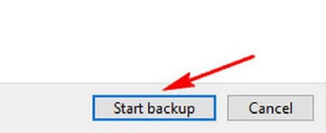 Nhấn vào start backup để thực hiện sao lưu
