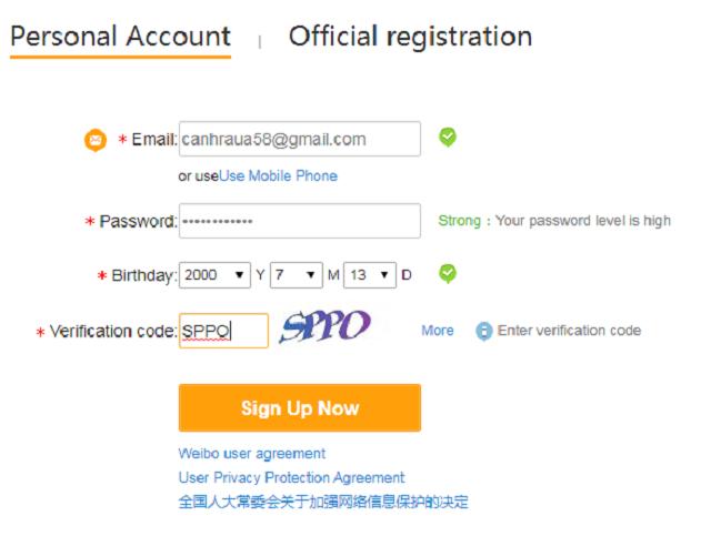 Nhấn vào sign up now để đăng ký