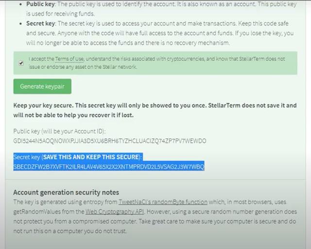 Copy phần dòng chữ dưới Secret Key-phương tiện duy nhất để mở ví Stellar
