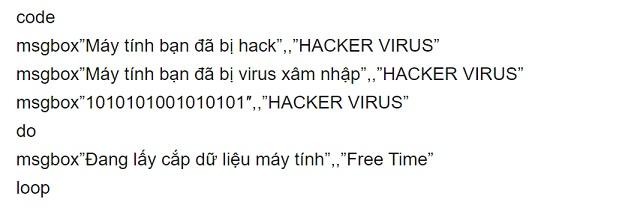 Mã code để tạo virus bằng notepad