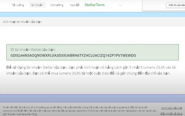 Sau khi đã đăng nhập ví Stellar thành công địa chỉ ví nhận của bạn sẽ xuất hiện