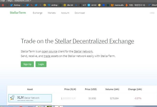 Truy cập trang web stellar term và Sign Up (Đăng nhập) để tạo một tài khoản mới