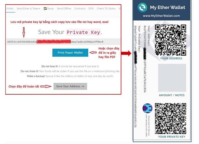 Bước 3 - lưu mã private key myetherwallet