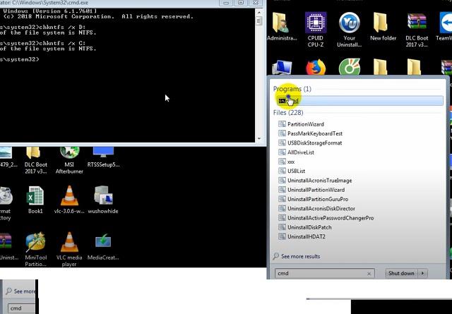 Nhấn vào Start gõ CMD, tiếp theo nhấp vào CMD để chạy dưới quyền Administrator